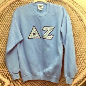 VTG 80s Delta Zeta Sorority Baby Blue Sweat Shirt